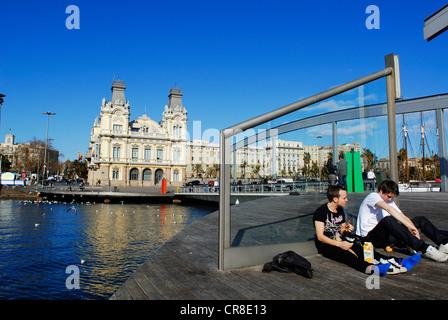 Spanien Katalonien Barcelona Rambla del Mar Stege Architekten von Helio Pinon Albert Viaplana in der Nähe von Port - Stockfoto