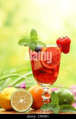 Erfrischende Sangria (Schlag) mit Früchten - Stockfoto