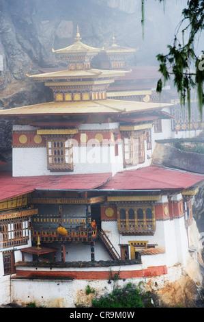 Tiger Nest im Nebel, Taktshang Goemba, Paro-Tal, Bhutan, Asien