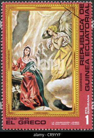 """Eine Briefmarke gedruckt in Äquatorial-Guinea, zeigt ein Bild von El Greco """"Die Verkündigung"""", ca. 1976 - Stockfoto"""