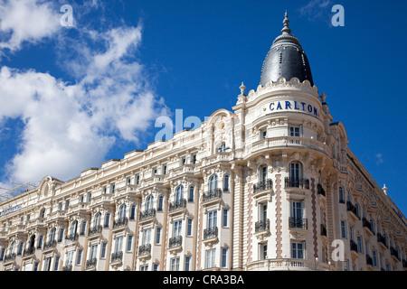 Fassade des Carlton Hotel, Cannes, Côte d ' Azur, Frankreich - Stockfoto