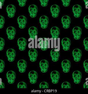 Wiederholen Sie die Muster der glühende grüne Schädel auf schwarzem Hintergrund - Stockfoto