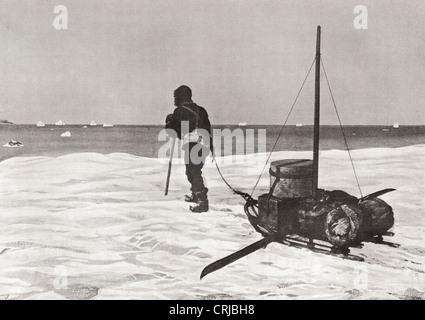 Dr. Douglas Mawson zurück zu spät für seine Schiff Aurora SY während seiner Australasian Antarctic Expedition, 1911 - Stockfoto