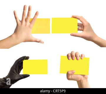 Hand und Karten isoliert auf weiss - Stockfoto