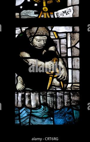 """Delft, Niederlande. Oude Kerk (""""alte Kirche"""" - Gothic) Glasfenster - Mann Mess - e = mc2 - Stockfoto"""