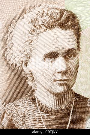 Marie Curie (1867-1934) auf 20 Zloty 2011-Banknote aus Polen. - Stockfoto