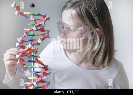 Mädchen untersuchen molekulare Modell - Stockfoto
