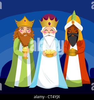Three Wise Men bringen Jesus Geschenke zu Weihnachten - Stockfoto