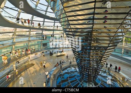 Kuppel aus Glas und Spiegelglas zentralen Trichter über dem Plenarsaal des Reichstagsgebäudes Berlin Deutschland - Stockfoto