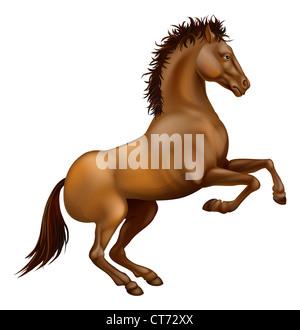 Beispiel für eine kräftige braune Pferd auf seinen Hinterbeinen Aufzucht - Stockfoto