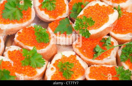 Russische Vorspeise Hintergrund. Roter Kaviar sandwiches - Stockfoto