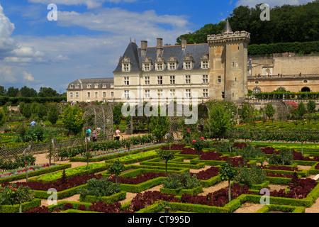 Chateau de Villandry, Loiretal, Frankreich. Späten Renaissance-Schloss berühmt für seine restaurierte Gärten. - Stockfoto