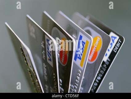 Auswahl von Debit- und Kreditkarten - Stockfoto