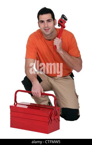 Klempner mit toolbox - Stockfoto