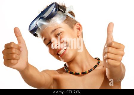 junge Tauchmaske auf weiß - Stockfoto