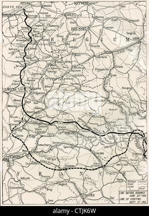 Karte von der Somme offensive an der Westfront im ersten Weltkrieg. - Stockfoto