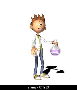 Cartoon-Figur-Chemiker - Stockfoto