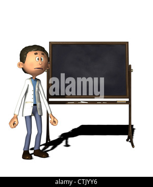 Cartoon-Figur-Chemiker mit board - Stockfoto