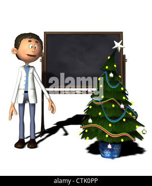 Cartoon Figur Chemiker mit Board und Weihnachtsbaum - Stockfoto