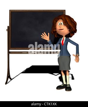 Cartoon-Figur-Geschäftsfrau mit blackboard - Stockfoto