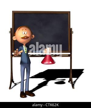 Cartoon-Figur-Lehrer mit Board und Erlenmeyerkolben - Stockfoto
