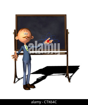 Cartoon-Figur-Lehrer mit Board und Atom-Modell - Stockfoto
