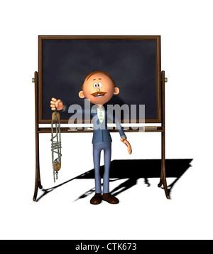 Cartoon Figur Lehrer mit Flaschenzug-board - Stockfoto