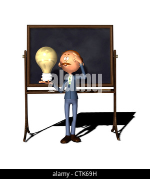 Cartoon Figur Lehrer mit Board und Birne - Stockfoto
