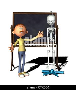Cartoon-Figur-Lehrer mit Board und Skelett - Stockfoto