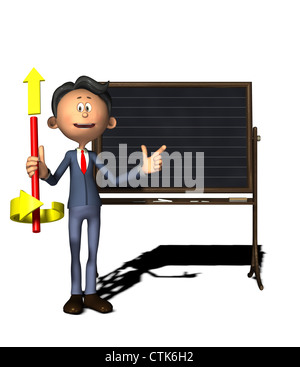 Cartoon Figur Physiklehrer zeigt die rechten Daumen-Regel - Stockfoto