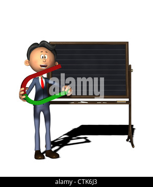Cartoon-Figur Physiklehrer mit Hufeisen-magnet - Stockfoto