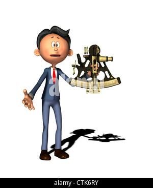 Cartoon-Figur Physiklehrer mit sextant - Stockfoto