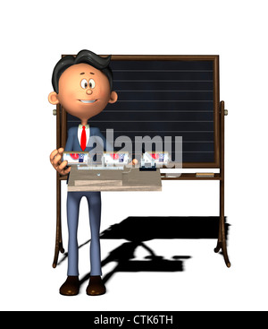 Cartoon-Figur Physiklehrer mit Elektronik-Experiment (Summer) - Stockfoto