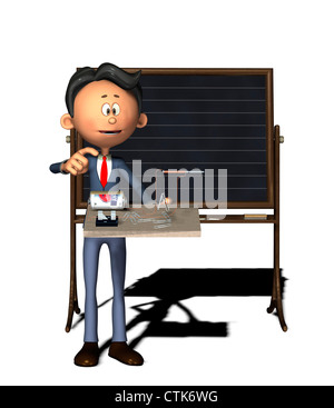 Cartoon-Figur Physiklehrer mit Elektronik-Experiment (Elektromagnet) - Stockfoto