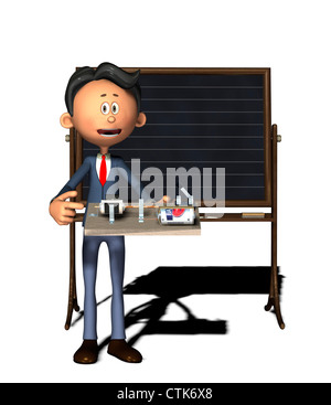 Cartoon-Figur Physiklehrer mit Elektronik-Experiment (Elektromotor) - Stockfoto