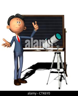 Cartoon-Figur Physiklehrer mit Teleskop - Stockfoto