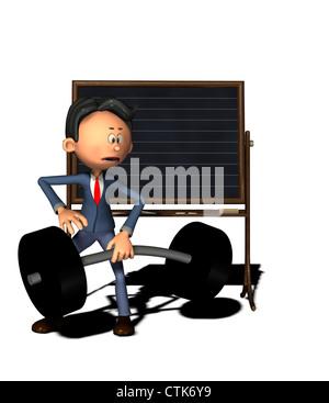 Cartoon-Figur Physiklehrer mit Masse - Stockfoto