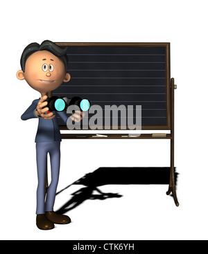 Cartoon-Figur Physiklehrer mit Fernglas - Stockfoto