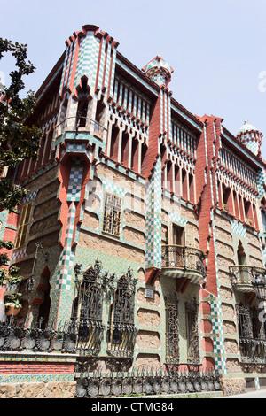 Casa Vicens, Barcelona, Spanien. Von Antoni Gaudi entworfen. - Stockfoto