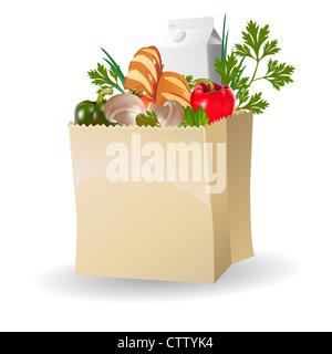 Isolierte Gemüse, Milch und Brot in Papiertüten - Stockfoto
