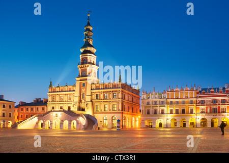 Zamosc, Rathaus, Unesco, Polen, Europa - Stockfoto