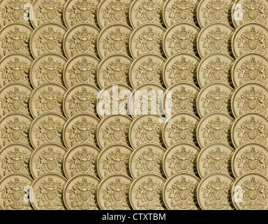 """Reglementierten Anordnung der britischen Pfund-Münzen zeigen nur """"Wappen"""" Seite und Kratzer entfernt. - Stockfoto"""