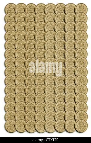 Regimented Anordnung von Britischen Pfund Münzen mit Schlagschatten an der Basis und an der linken Seite - Stockfoto