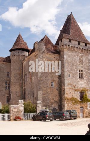 Chateau De La Marthonie in Saint Jean de Cole, Périgord Vert, Dordogne, Frankreich - Stockfoto