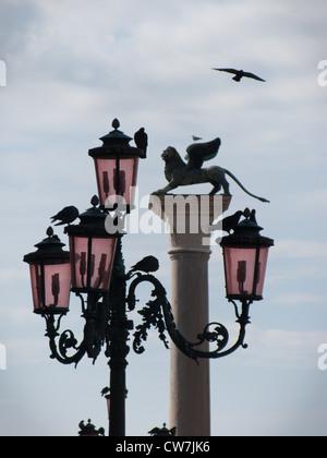 Vogel fliegt über die geflügelten Löwen Spalte und Laternenpfahl in der Piazzetta di San Marco (Markusplatz entfernt) - Stockfoto