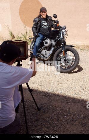 Motorrad Kunst Ferrotypie Zinn-Typ Straßenfotografie ehemaliger 27.-29. Juli 2012 Rallye Las Vegas-New-Mexico - Stockfoto