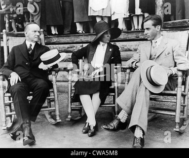 Präsident Calvin Coolidge, First Lady Grace Coolidge und John Coolidge im Hot Springs Country Club in South Dakota, - Stockfoto