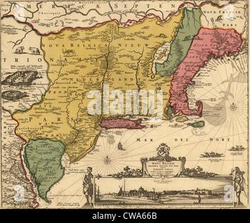 17. Jahrhundert-Karte des Landes, das neu-England, New Jersey und New York wurde.  Karte enthält einen Ausblick - Stockfoto