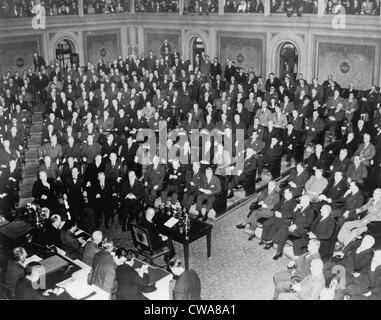 Präsident berichtet an den Kongress über 1. März 1945, nach der großen drei Konferenz mit Churchill und Stalin in - Stockfoto