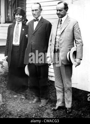 Präsident CALVIN COOLIDGE, mit Frau und Vater John C. Coolidge, c. 1926. Höflichkeit: CSU Archive / Everett Collection - Stockfoto